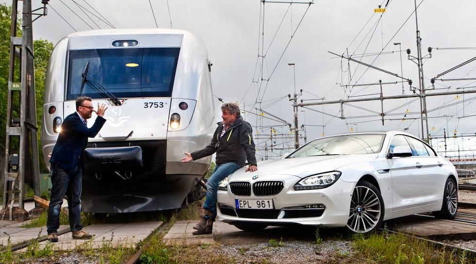 Tåget SJ 3000 i duell mot BMW 640i Gran Coupé