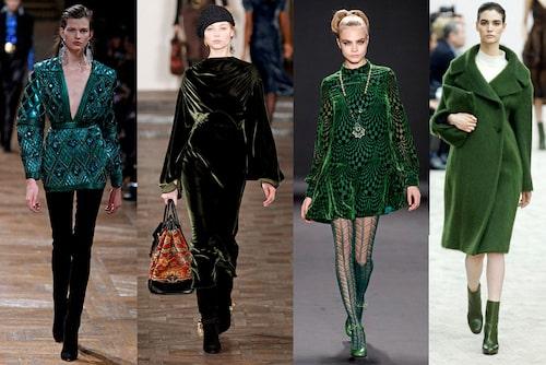 GRÖNT Grönt visades i många olika nyanser, som här på catwalken hos Balmain, Ralph Lauren, Anna Sui och Céline
