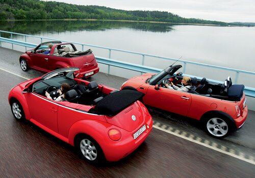 Provkörning av Chrysler PT Cruiser Cab mot Mini Cooper Cooper Cab och VW Beetle 2,0 Cab