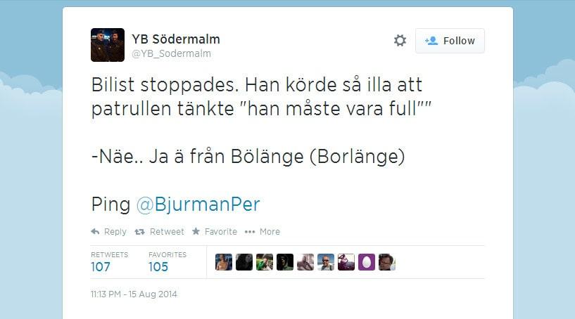 Södermalmspolisens tweet från i fredags