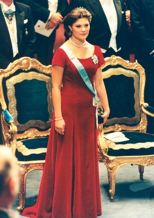 Kronprinsessan Victorias nobelklänning 1995.