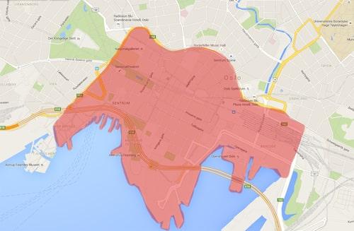 Detta är den planerade bilfria zonen i Oslo.