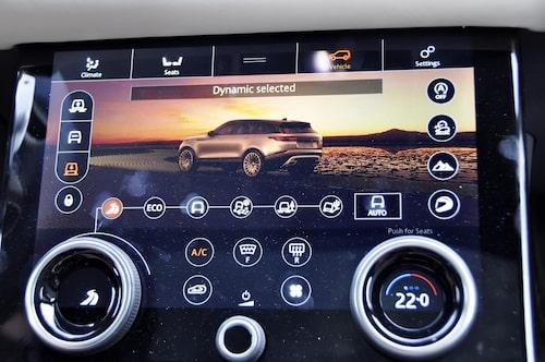 Range Rovers reducerade design har gjort bildskärmen så här enkel att överblicka. Direktreglage för värmen hade underlättat.