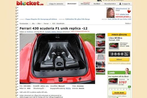 Annonsen säger att bilbyggaren har lyckats återskapa motorljudet från en Ferrari. Tittar man ner i motorrummet bakom kupén hittar man något som är väldigt likt motorn som den vill efterlikna. Allt ser väldigt snyggt och välgjort ut.