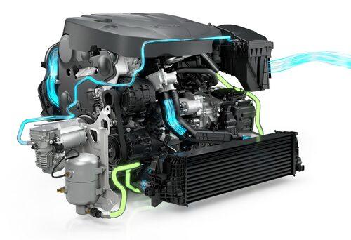 Luft sugs in till PowerPulse-systemet via luftfiltret med hjälp av en elektrisk kompressor.