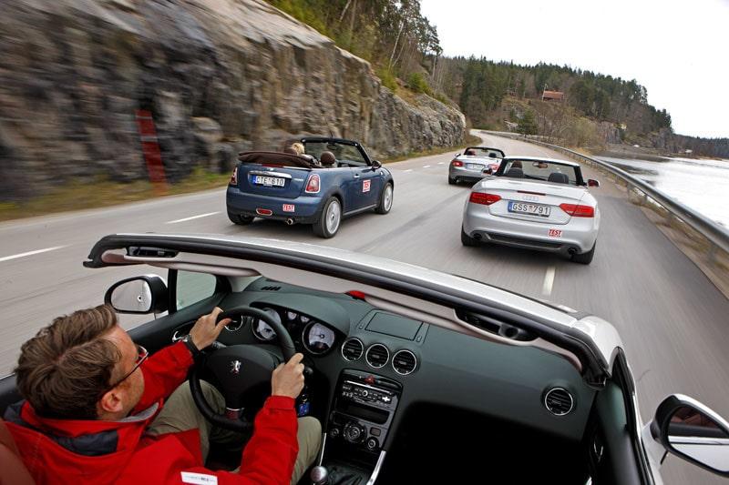 Audi A5 Cabriolet, Mazda MX-5, Mini Cabrio och Peugeot 308 CC.