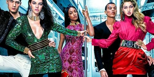 Kendall Jenner, Jourdan Dunn och Gigi Hadid frontade H&M:s designsamarbete med Balmain 2015.