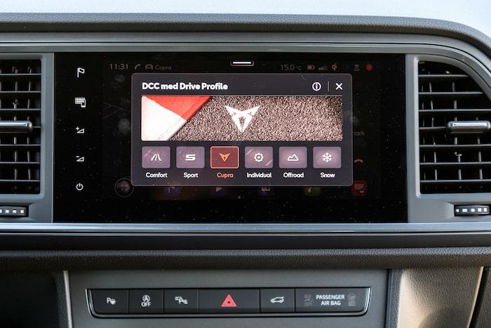 DCC dynamisk chassikontroll ingår i standard-utrustningen i Cupra Ateca.