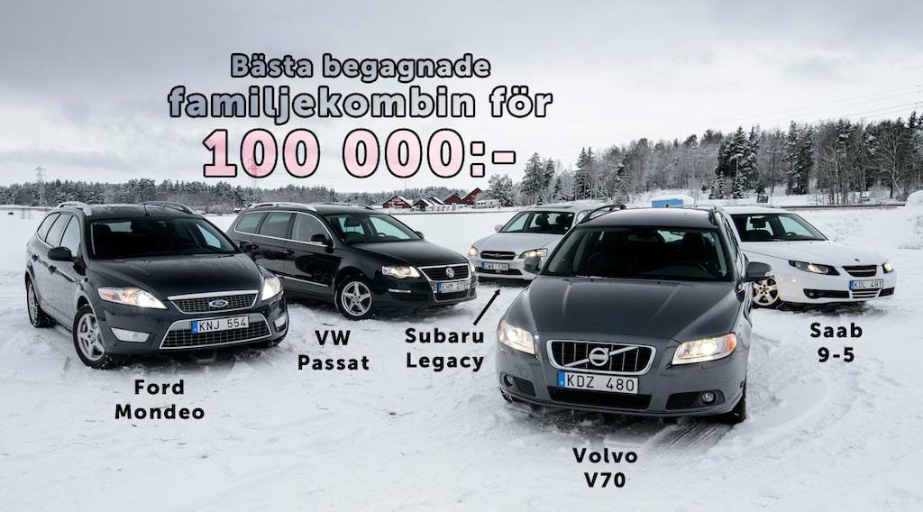 Ford Mondeo Kombi, Volkswagen Passat Variant, Subaru Legacy Station, Volvo V70 och Saab 9-5