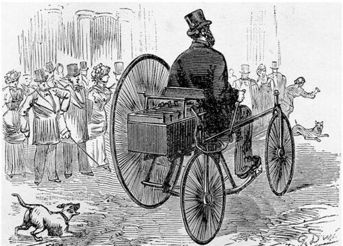 Detta kan vara den första elbilen, eller är det en cykel? Fransmannen Gustave Trouvé hämtade denna märkliga trampcykel från England och försåg den med elmotor och laddbara batterier.