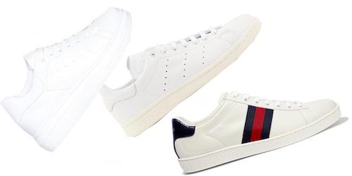 Vita sneakers passar lika bra till raka jeans som vårklänningen.