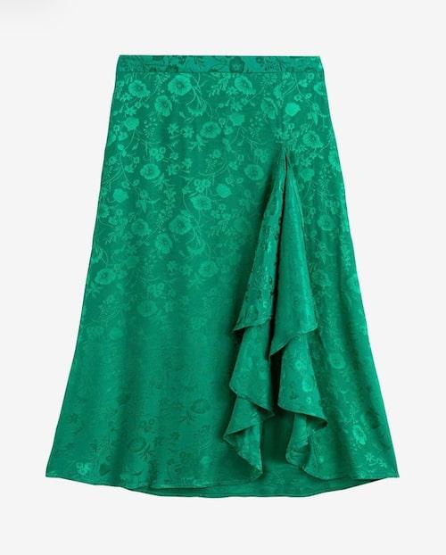 Grön kjol med slits och volanger från La Redoute Collection.