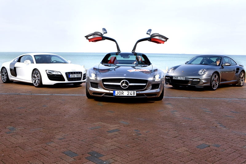Audi R8 V10, Mercedes SLS AMG och Porsche 911 Turbo.