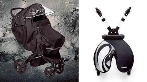 Såväl regnskydd som ståbräda är bra tillbehör till barnvagnen.