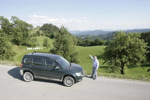 Rejät skitig Yeti efter en tur på grusvägar. PeO Kjellström hade skoj i Slovenien!