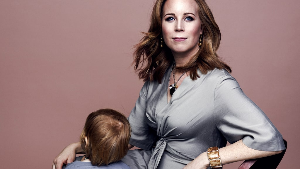 Centerpartiets Annie Lööf med dottern Ester.