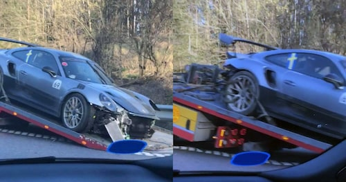 Även Teknikens Värld-läsaren Andreas passerade olycksplatsen och tog dessa bilder när den exklusiva Porschen lyftes upp på bärgningsbilen. Skadorna är kraftiga, även på den sida av bilen som klarade sig bäst.