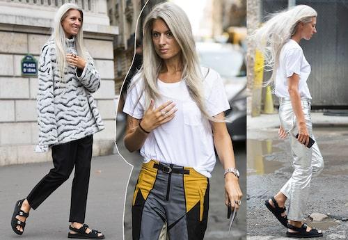 Silverbyxor, tigerrandiga tröjor och blockmönstrat – Sarah bär gärna mönster och färg, dock i nedtonad skala.