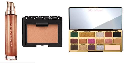 Body lava body luminizer från Fenty Beauty, blush från Nars och Chocolate gold eye shadow palette från Too Faced.