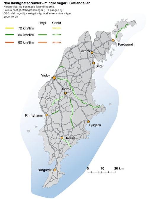 Hastighetsförändringar 2009 i Gotlands län - mindre vägar