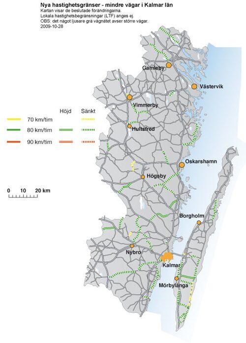 Hastighetsförändringar 2009 i Kalmar län - mindre vägar