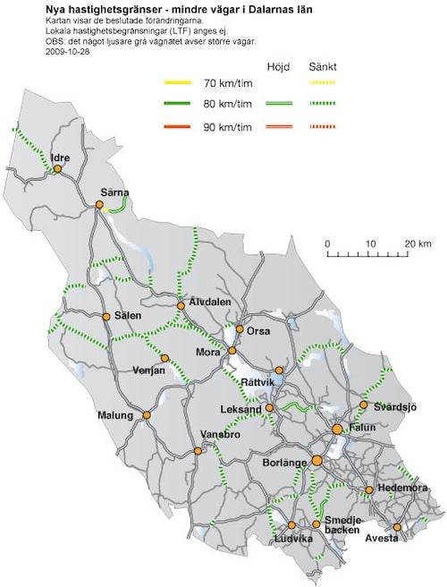 Hastighetsförändringar 2009 i Dalarnas län - mindre vägar