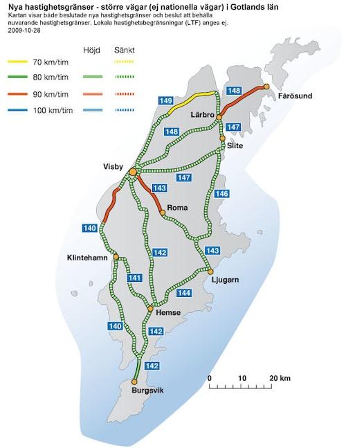 Hastighetsförändringar 2009 i Gotlands län - större vägar