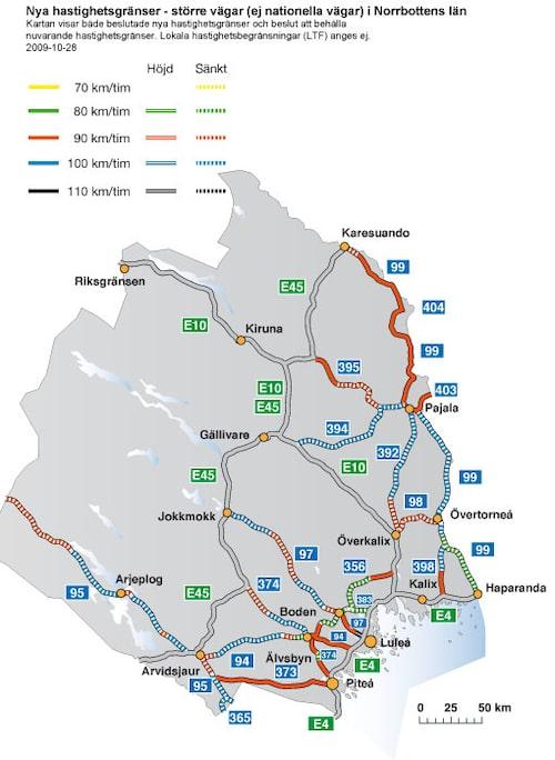 Hastighetsförändringar 2009 i Norrbottens län - större vägar