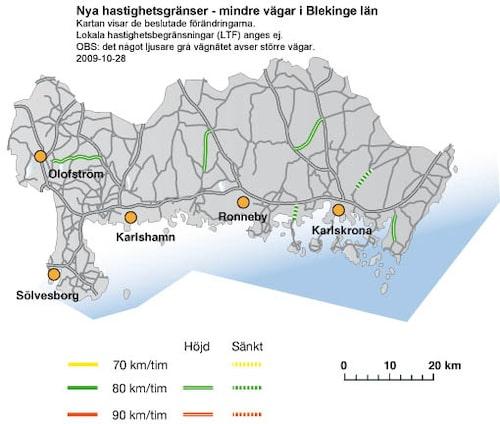 Hastighetsförändringar 2009 i Blekinge län - mindre vägar
