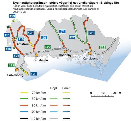 Hastighetsförändringar 2009 i Blekinge län - större vägar