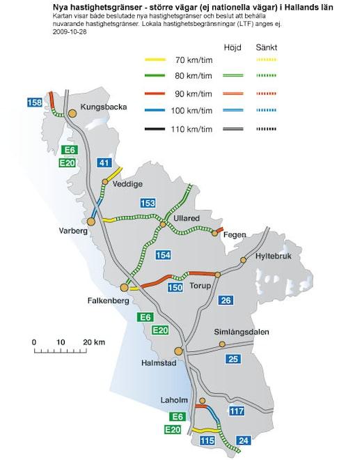 Hastighetsförändringar 2009 i Hallands län - större vägar
