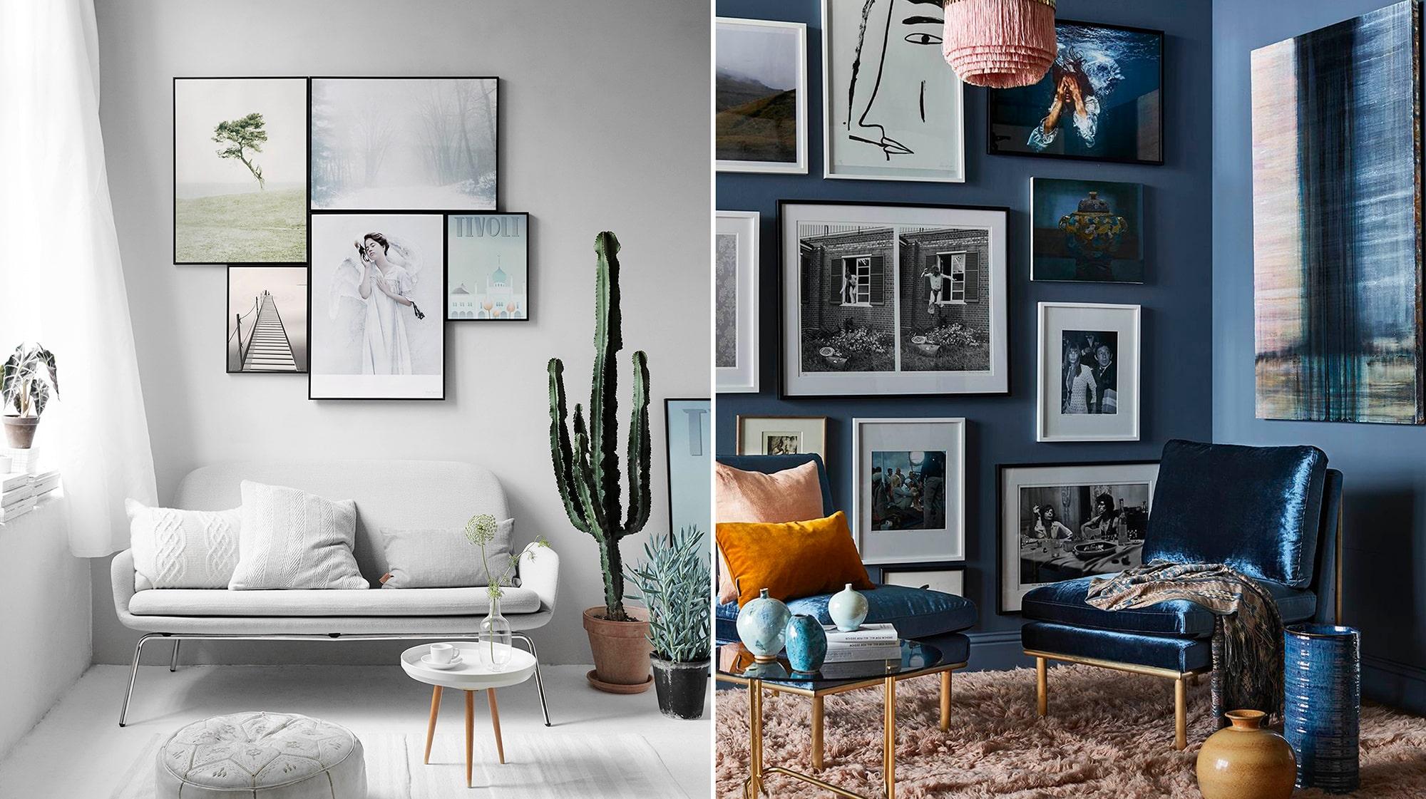 placera tavlor på väggen