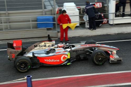 McLaren-Mercedes med Heikki Kovalainen som testförare för dagen.