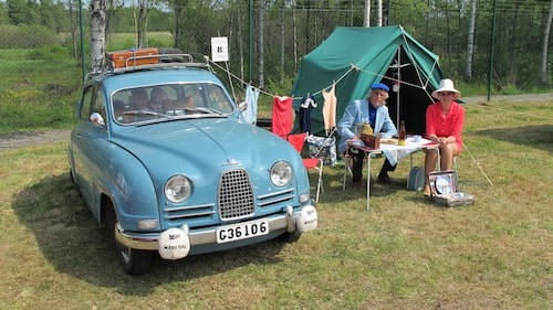 Saab 96 från 1961. Denna bil blev av besökarna utsedd till mest charmiga bil på utställningen.