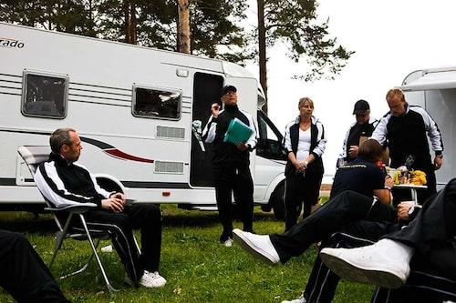 På plats på Orsa Camping, med Orsasjön i bakgrunden.