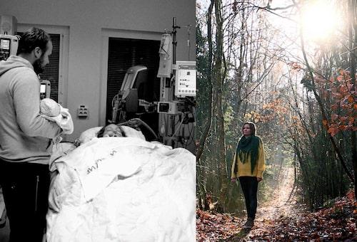 """Maria låg i koma i en vecka, men tack vare rehabilitering kan hon gå idag: """"Vi är fortfarande ganska ovana vid att se Maria gå utan hjälpmedel. Det är helt fantastiskt! Som hon kämpat för detta,"""" säger Pernilla, som tagit bilden."""