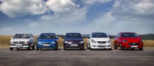 Fem generationer Corsa, från 1982 till 2015.
