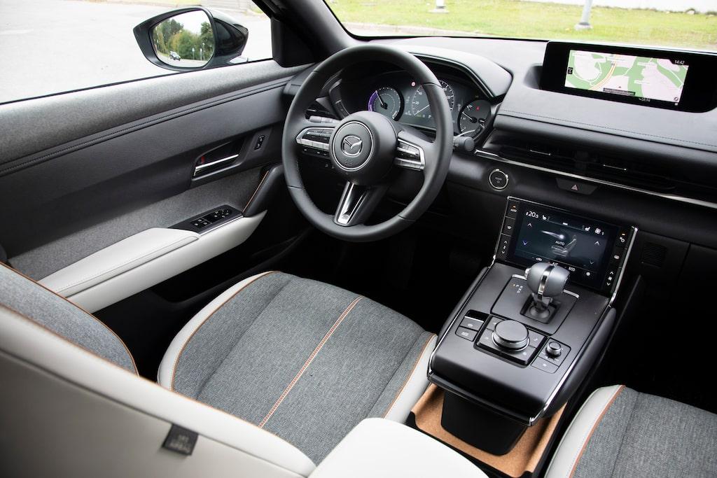 Analoga mätare för kraftutveckling och batteriladdning. Ovanligt i en elbil.