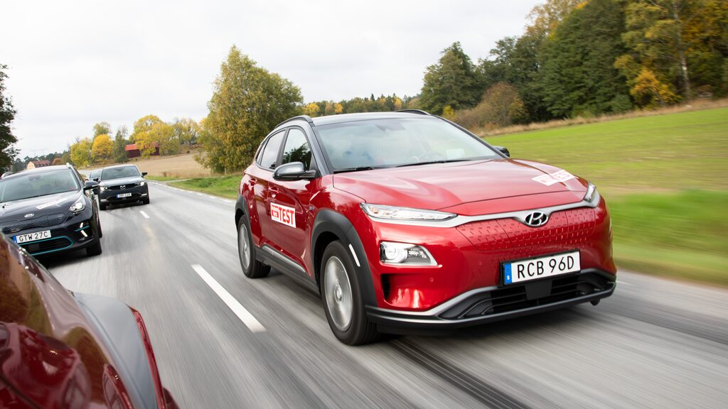 Den eldrivna versionen av Hyundai Kona är en tilltäppt typ. Slät front sparar energi.