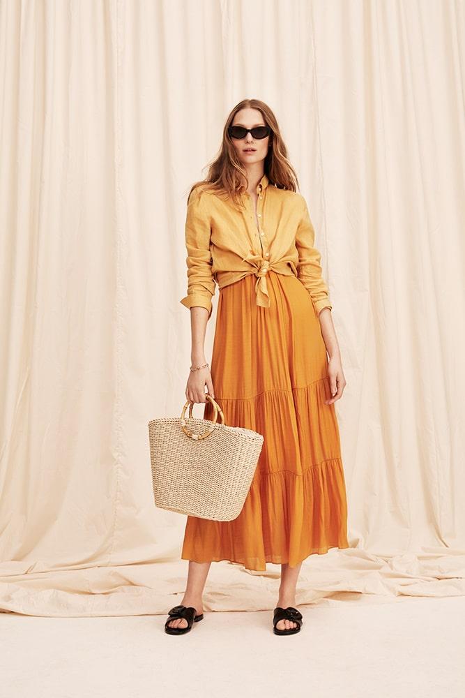 Klänning av bomull, 299 kr, H&M. Skjorta av lin/viskos, 349 kr, Gina Tricot. Väska av papper, 449 kr, Åhléns. Sandaler av skinn, 2 699 kr, APair.