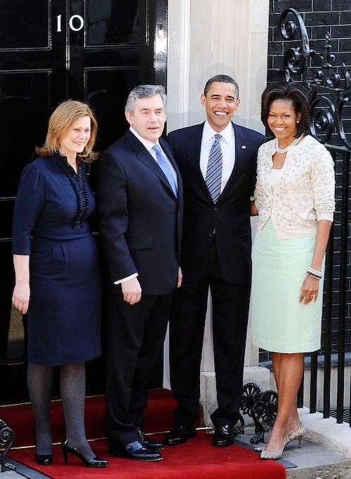 Budgetlooken var väl planerad av Michelle Obama. Här med dåvarande premiärministerparet Sarah och Gordon Brown samt maken, dåvarande president Barack Obama.