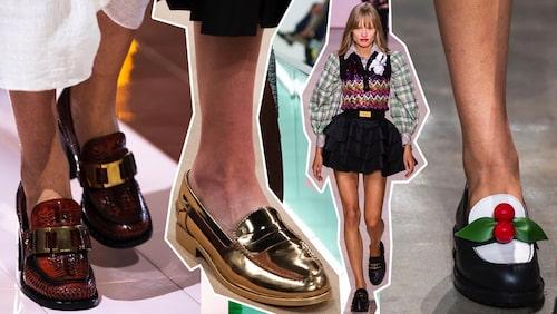 Prada, Tods, Louis Vuitton, Michael Kors –alla visar prov på loafers som trendiga skor till våren 2020.