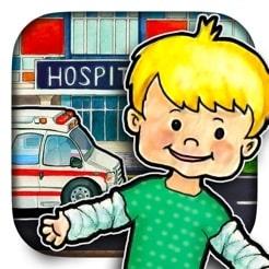 Fin och verklighetstrogen dockskåpsapp i sjukhusmiljö.