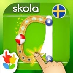 Att lära sig i vilken riktning man skriver en bokstav (uppifrån och ner!) blir roligt med hjälp av denna app.