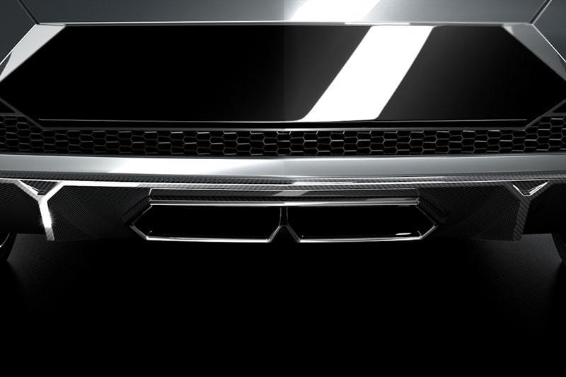 Först släppte Lamborghini denna första bild som föreställer utblåsen där bak...