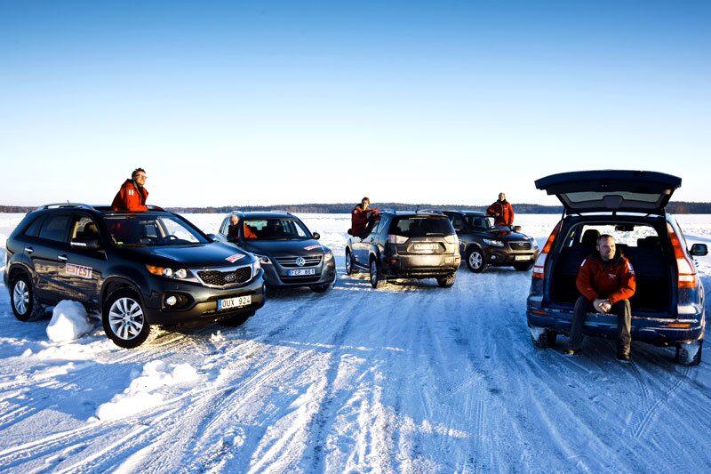 Kia Sorento, Volkswagen Tiguan, Mitsubishi Outlander, Hyundai Santa Fe och Honda CR-V.