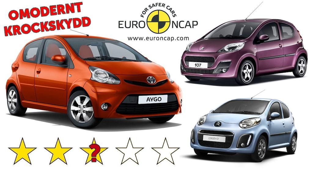 Euro NCAP: Dåligt krockskydd i Toyota Aygo, Peugeot 107 och Citroën C1