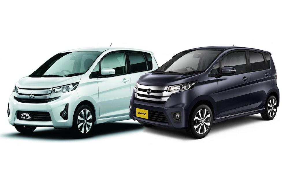 Syskonbilarna Mitsubishi eK och Nissan Dayz, båda tillverkade av Mitsubishi.