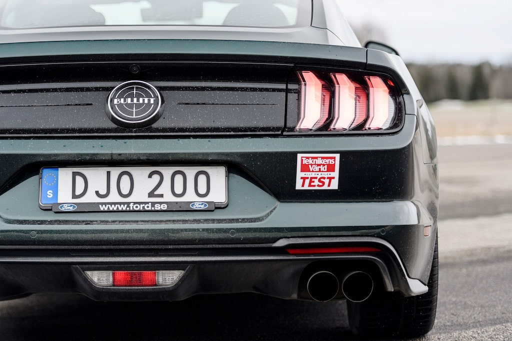 """Få bakpartier är lika ikoniska som Ford Mustang, det hedrar designteamet. Bullitt-märke i stället för """"GT""""."""
