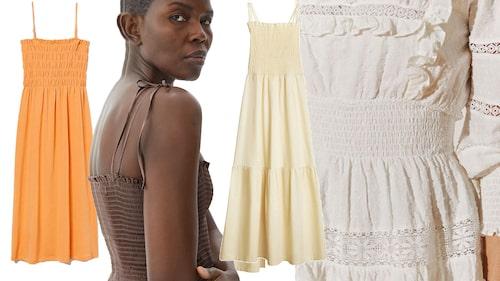 Smockade klänningen är het i sommar.